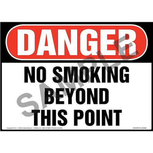 Danger: No Smoking Beyond This Point Sign - OSHA (011921)