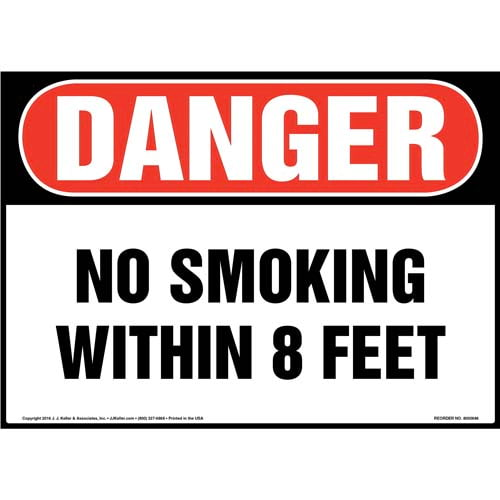 Danger: No Smoking Within 8 Feet Sign - OSHA (011922)