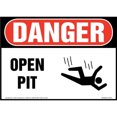 Danger: Open Pit Sign with Icon - OSHA (011933)