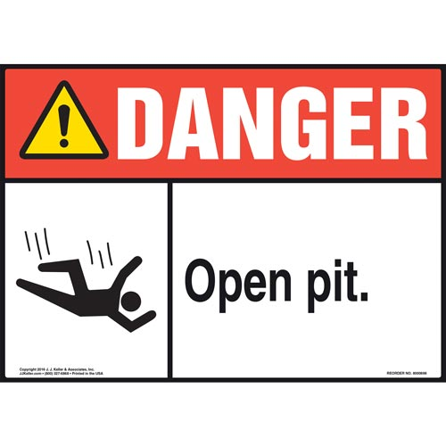 Danger: Open Pit Sign with Icon - ANSI (011934)