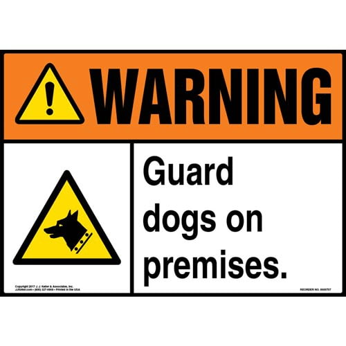 Warning: Guard Dogs On Premises Sign - ANSI (011943)
