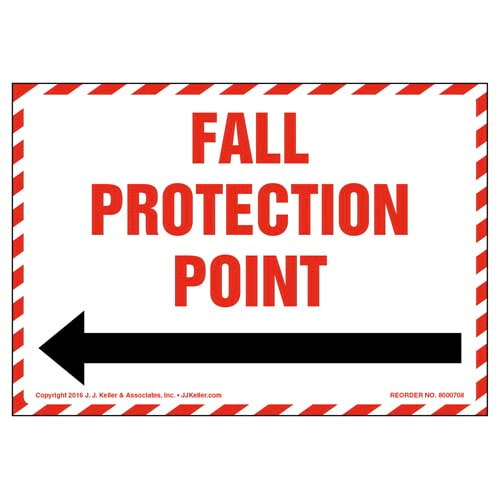 Fall Protection Anchor Point With Right Arrow Graphic Label (011944)