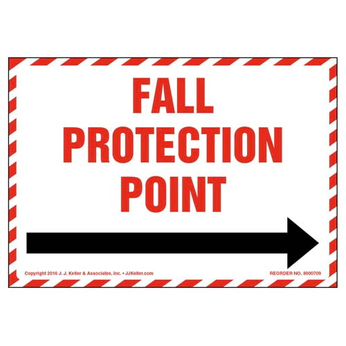 Fall Protection Anchor Point With Right Arrow Graphic Label (011945)