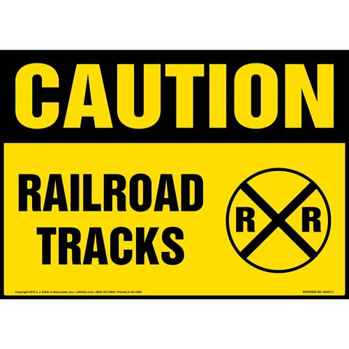 Caution: Railroad Tracks Sign with Icon - OSHA (011947)