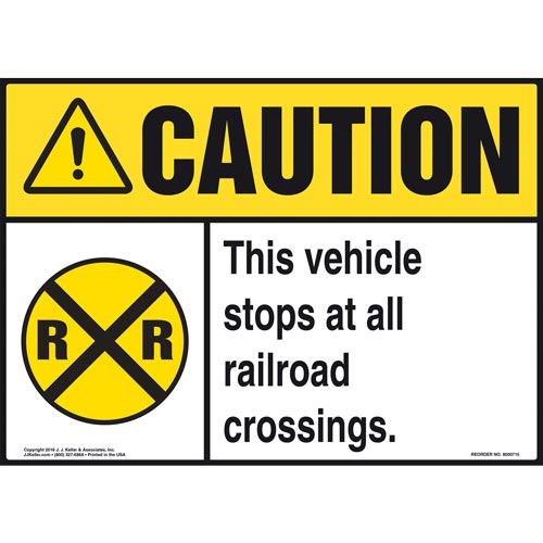 Caution: This Vehicle Stops At All Railroad Crossings Sign with Icon - ANSI (011951)