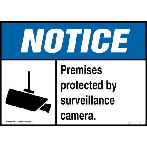 Notice: Premises Protected By Surveillance Camera Sign - ANSI (011953)