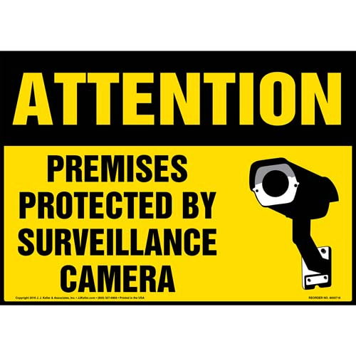 Attention: Premises Protected By Surveillance Camera Sign with Icon - OSHA (011954)