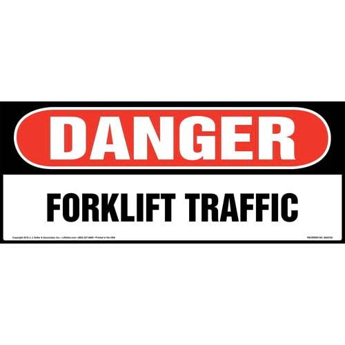 Danger: Forklift Traffic Sign - OSHA, Long Format (011956)