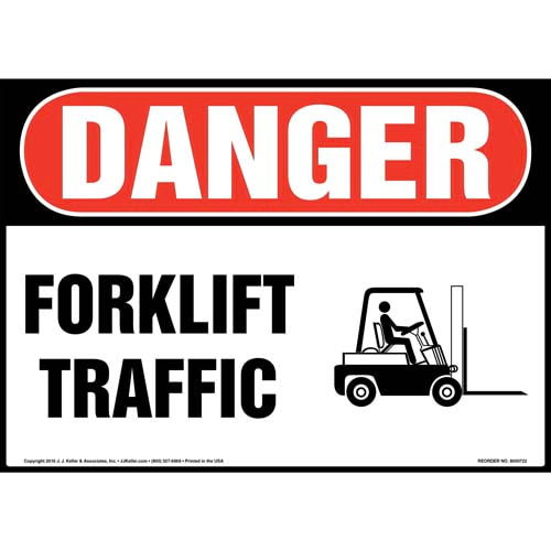 Danger: Forklift Traffic Sign with Icon - OSHA (011958)