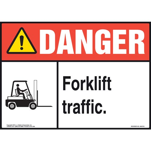 Danger: Forklift Traffic Sign with Icon - ANSI (011959)