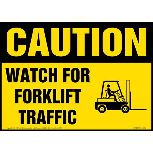 Caution: Watch for Forklift Traffic Sign with Icon - OSHA (011960)
