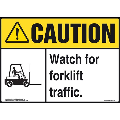 Caution: Watch for Forklift Traffic Sign with Icon - ANSI (011961)
