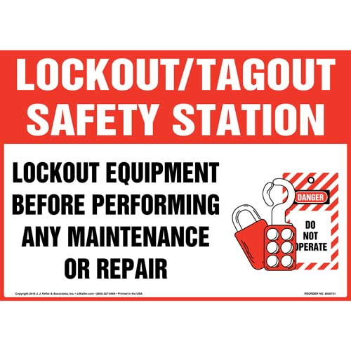 Lockout/Tagout Safety Station Lockout Equipment Before Performing Any Maintenance Or Repair Sign (011966)