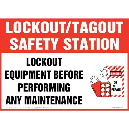 Lockout/Tagout Safety Station Lockout Equipment Before Performing Any Maintenance With Graphic Sign (011967)