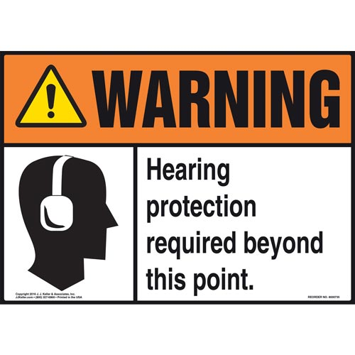 Warning: Hearing Protection Required Beyond This Point With Graphic - ANSI Sign (011970)