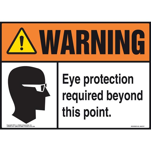 Warning: Eye Protection Required Beyond This Point With Graphic - ANSI Sign (011972)