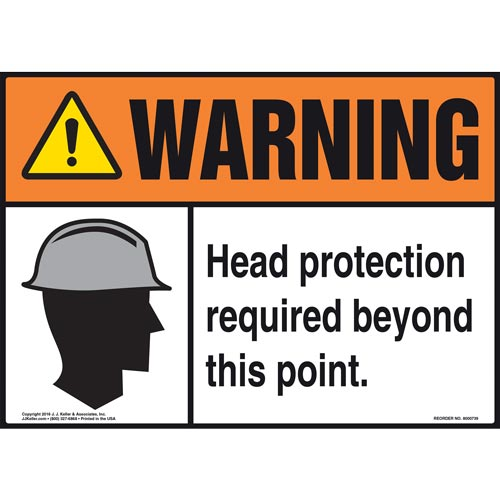 Warning: Head Protection Required Beyond This Point With Graphic - ANSI Sign (011974)