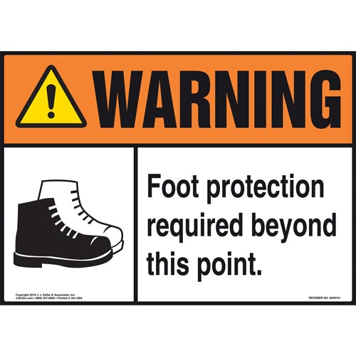 Warning: Foot Protection Required Beyond This Point With Graphic - ANSI Sign (011976)