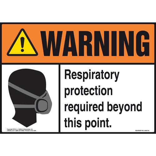 Warning: Respiratory Protection Required Beyond This Point With Graphic - ANSI Sign (011978)