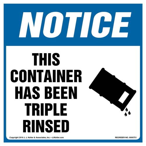 Notice: This Container Has Been Triple Rinsed Label with Icon - OSHA (011986)