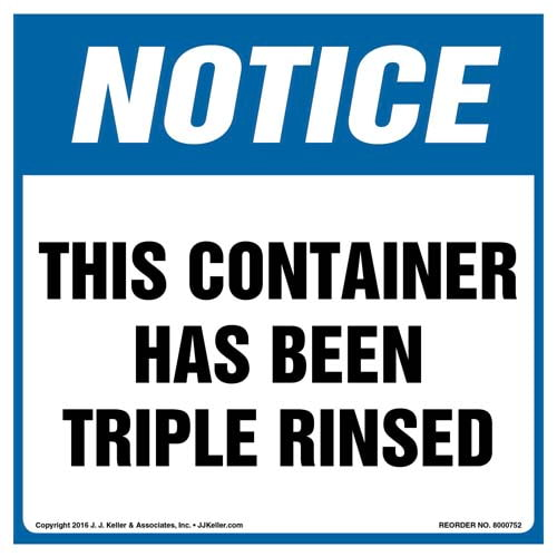 Notice: This Container Has Been Triple Rinsed Label - OSHA (011987)