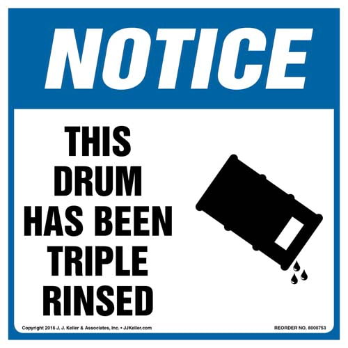 Notice: This Drum Has Been Triple Rinsed Label with Icon - OSHA (011988)