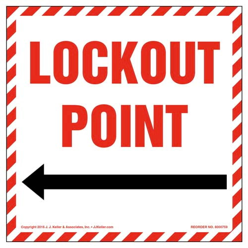 Lockout Point With Left Arrow Graphic Label (011994)