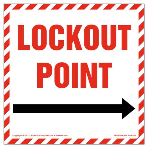 Lockout Point With Right Arrow Graphic Label (011995)