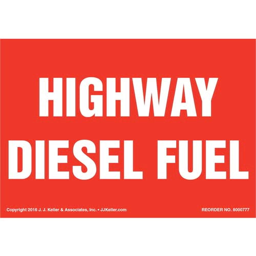 Highway Diesel Fuel Label - Red (012012)