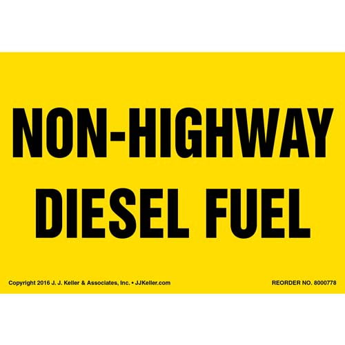 Non-Highway Diesel Fuel Label - Yellow (012013)