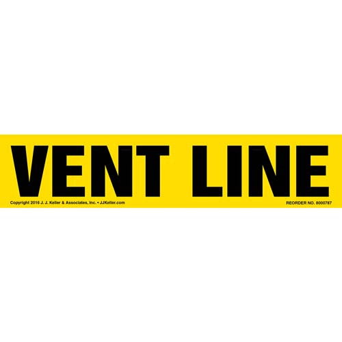 Vent Line Label - Yellow (012022)