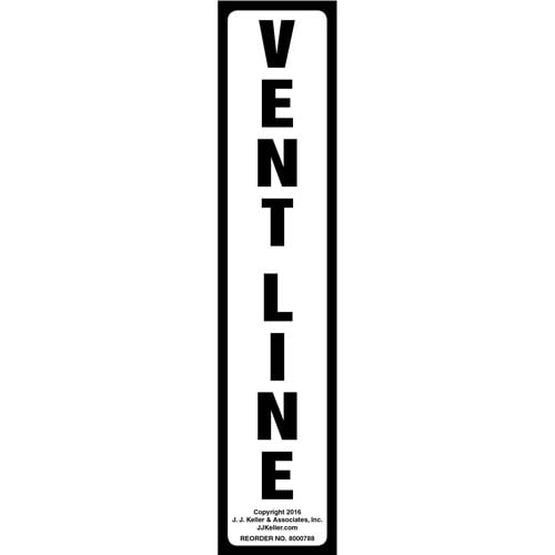 Vent Line Label - White, Vertical (012023)