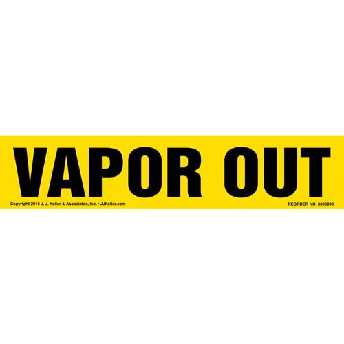 Vapor Out Label - Yellow, Long Format (012035)