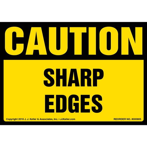 Caution: Sharp Edges Label - OSHA (012040)