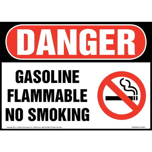 Danger: Gasoline Flammable No Smoking Sign - OSHA (012047)