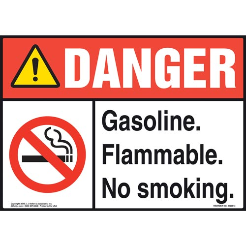 Danger: Gasoline Flammable No Smoking Sign - ANSI (012048)