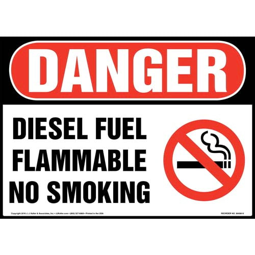 Danger: Diesel Fuel Flammable No Smoking Sign - OSHA (012049)