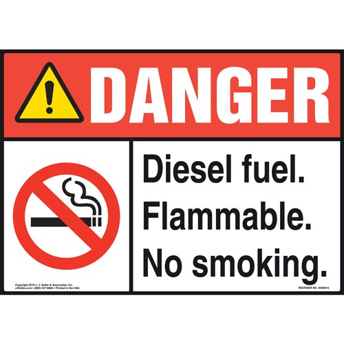 Danger: Diesel Fuel Flammable No Smoking Sign - ANSI (012050)