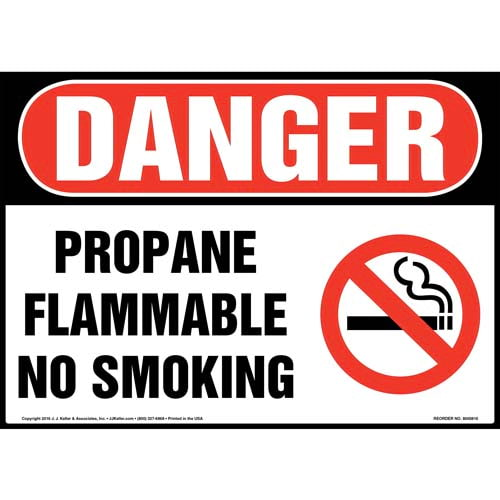 Danger: Propane Flammable No Smoking Sign with Icon - OSHA (012051)