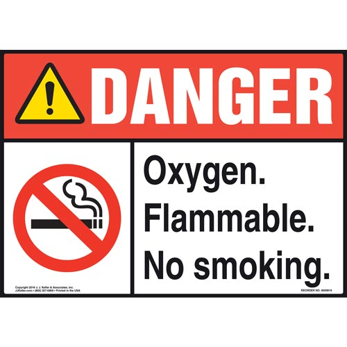Danger: Oxygen Flammable No Smoking Sign with Icon - ANSI (012054)