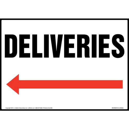 Deliveries Sign - Left Arrow (012057)