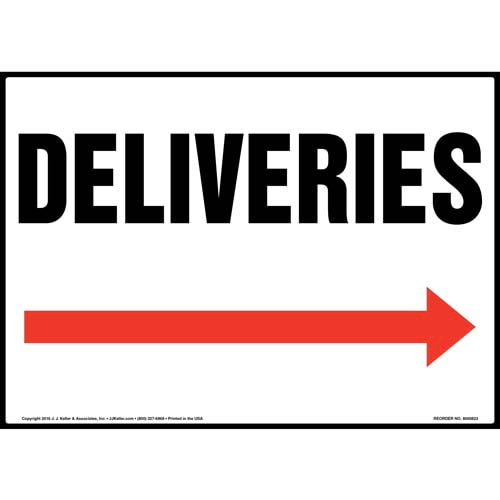 Deliveries Sign - Right Arrow (012058)