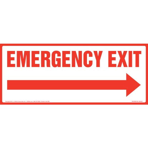 Emergency Exit With Right Arrow Sign (010522)