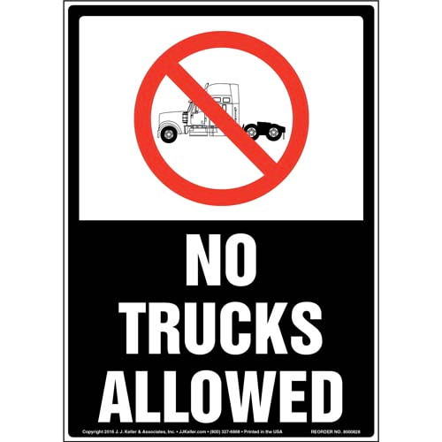No Trucks Allowed Sign with Icon (010534)