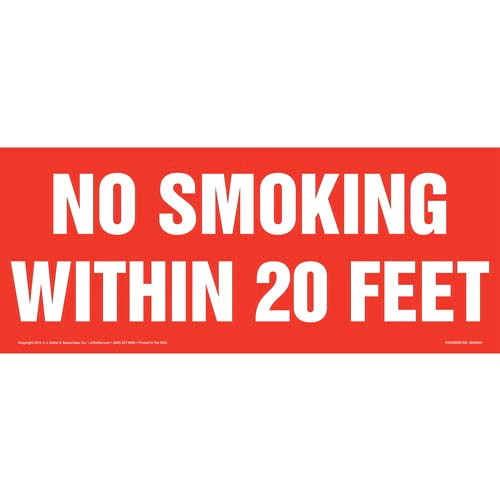 No Smoking Within 20 Feet Sign (010536)