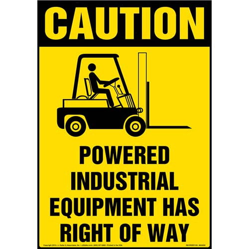 Powered Industrial Equipment Has Right Of Way Floor Sign - OSHA (010541)