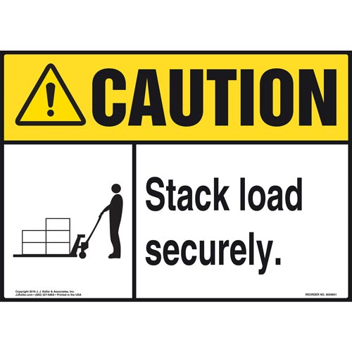 Caution: Stack Load Securely Sign - ANSI, Pallet Jack Icon (010638)