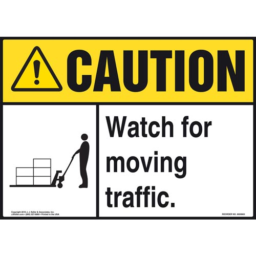 Caution: Watch For Moving Traffic Sign - ANSI, Pallet Jack Icon (010651)