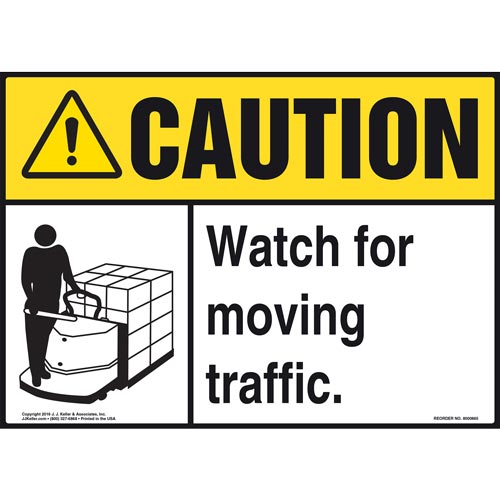 Caution: Watch For Moving Traffic Sign - ANSI, Motorized Pallet Jack Icon (010653)