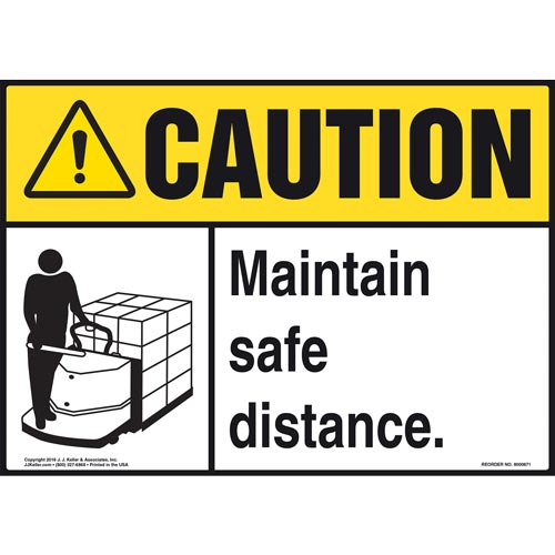 Caution: Maintain Safe Distance Sign - ANSI, Motorized Pallet Jack Icon (010659)